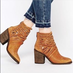 Free People Carrera Woven Leather Bootie